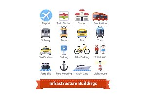 Infrastructure buildings icon set