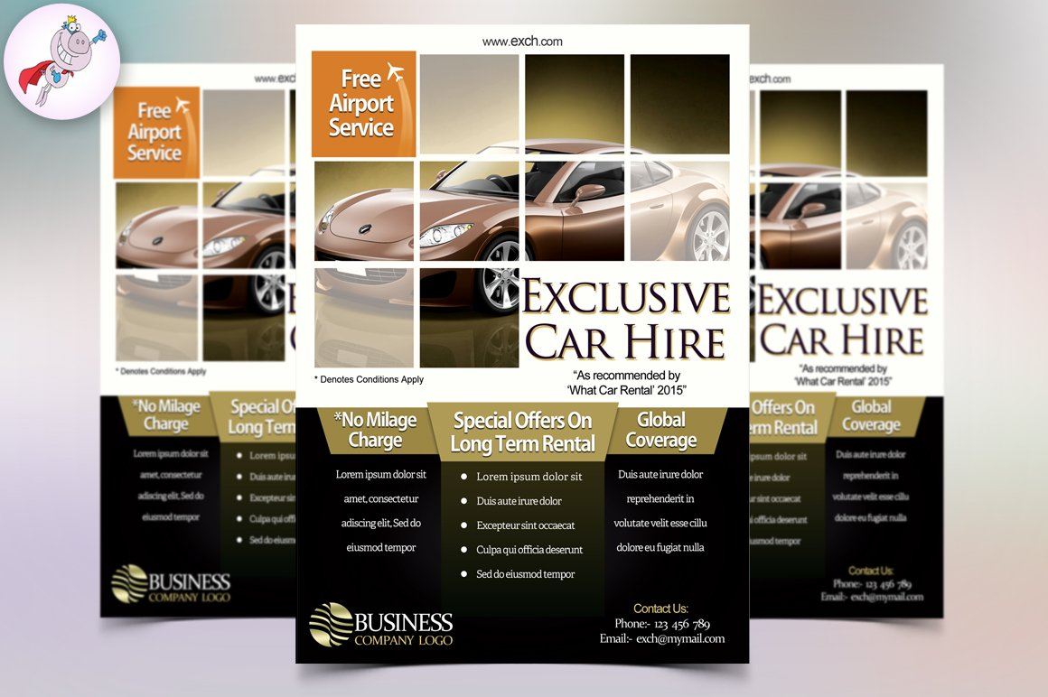 car hire flyer template flyer templates creative market. Black Bedroom Furniture Sets. Home Design Ideas