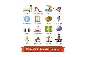 Recreation buildings icon set.