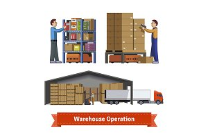 Warehouse operations and workers.