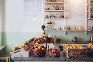 Fruit juice bar counter