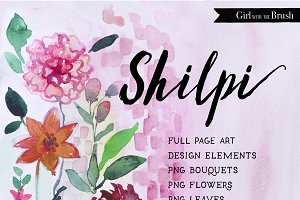 Watercolor Floral Clipart Bundle