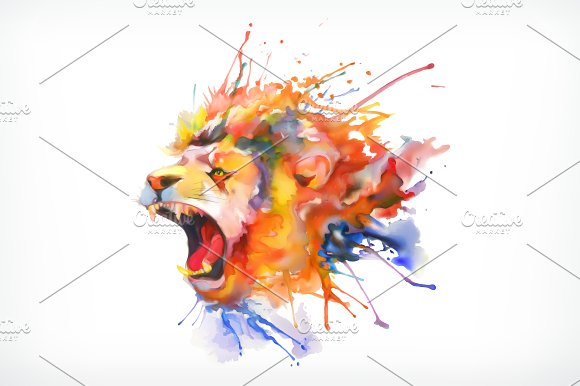 Watercolor painting, roaring lion