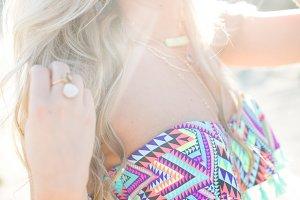 Blonde Woman Posing in Swimwear