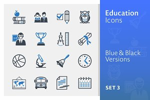 Education Icons Set 3 - Blue Series