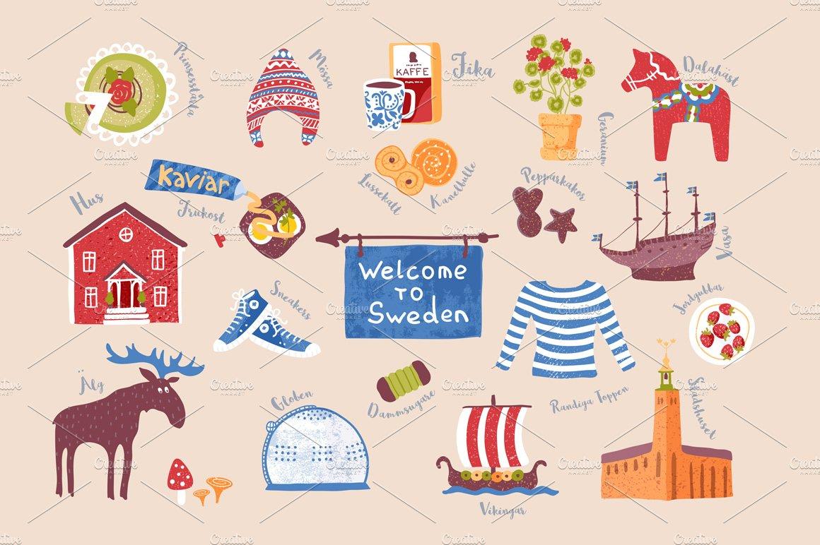 Set Of Swedish Traditional Symbols Illustrations Creative Market