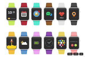 12 Apple Watch Flat Design