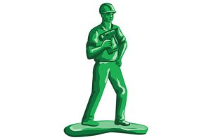 Green Construction Worker Nailgun