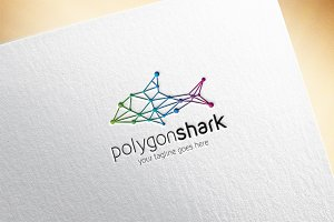 Polygon Shark Logo Template
