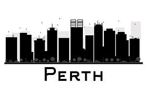 Perth City skyline silhouette
