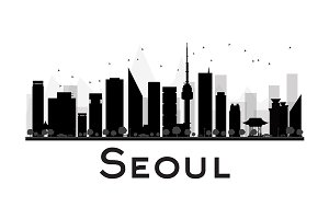 Seoul City skyline silhouette