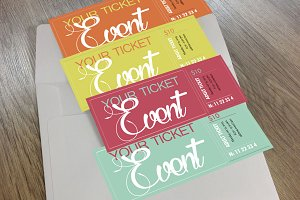 4 Tickets set Multiple colors