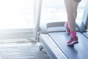 Woman pink shoes in fitness