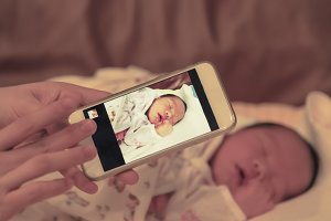 Baby is captured image by smartphone