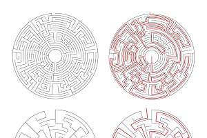 Two round mazes on white