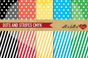 Polka Dot Stripes Digital Paper