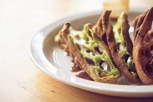 Waffle chocolate matcha closeup