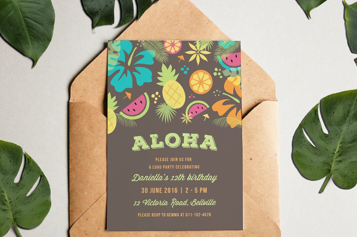 Luau party invitation invitation templates creative market stopboris Images
