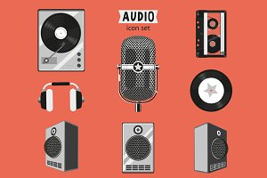 Retro music icons set