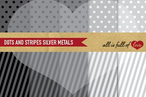 Grey Polka Dots Stripes Paper Sheets