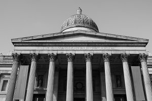 National Gallery in London in black and white