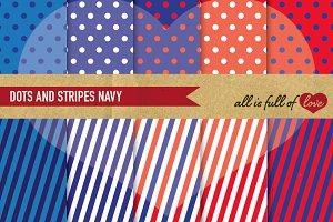 Red Blue Polka Dots & Stripes Paper
