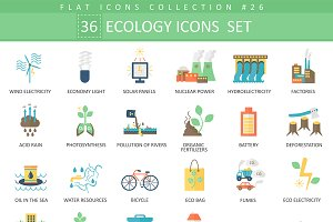 36 Ecology color flat icons set.