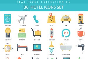 36 Hotel color flat icons set