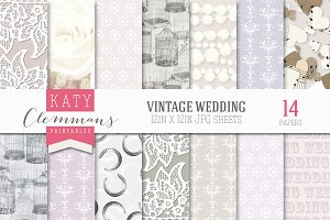 Vintage Wedding patterned paper pack