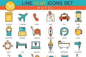36 Hotel flat line icons set.