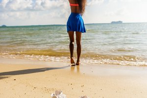 Beautiful black girl at the beach.