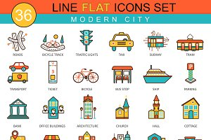 36 Modern city flat line icons set.
