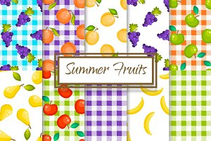 Summer Fruits 10 Seamless Patterns