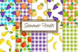 Summer Fruits 10 Seamless Patterns