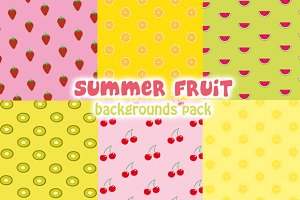Summer fruit backgrounds pack