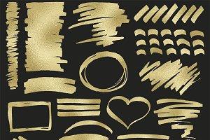 Gold foil strokes clipart