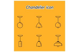Outline lamp icon set