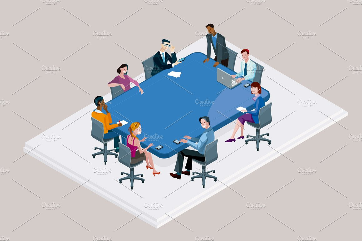 Office Meeting With Conference Table Illustrations Creative Market - Blue conference table