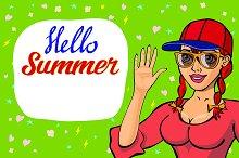 lettering Hello summer girl waving