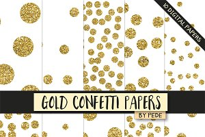 Gold confetti digital paper pack