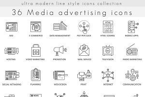 36 Media advertising line icons set.