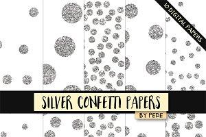Silver confetti digital paper pack