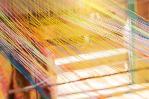 closeup image of weaving Loom