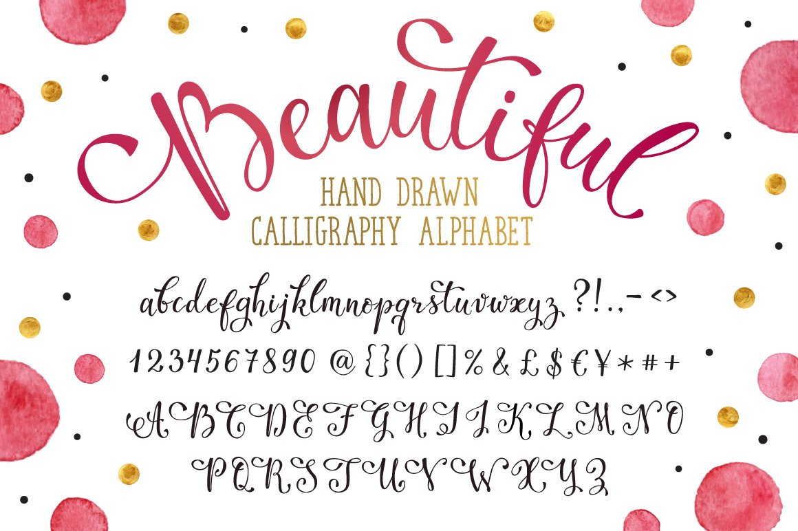 Hand Drawn Calligraphic Alphabet Graphic Objects Creative Market