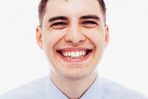 Laughing clerk close-up