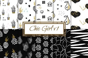 Chic Girl v1. - seamless patterns
