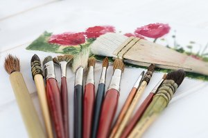 Paintbrushes and watercolor painting