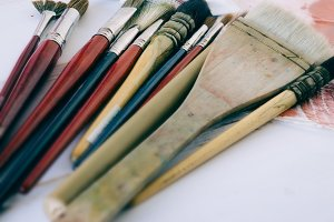 Bunch of old artist paintbrushes
