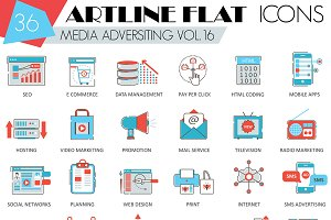 36 Media Advertising flat line icons