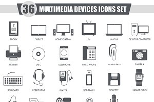 36 Multimedia Devices black icons